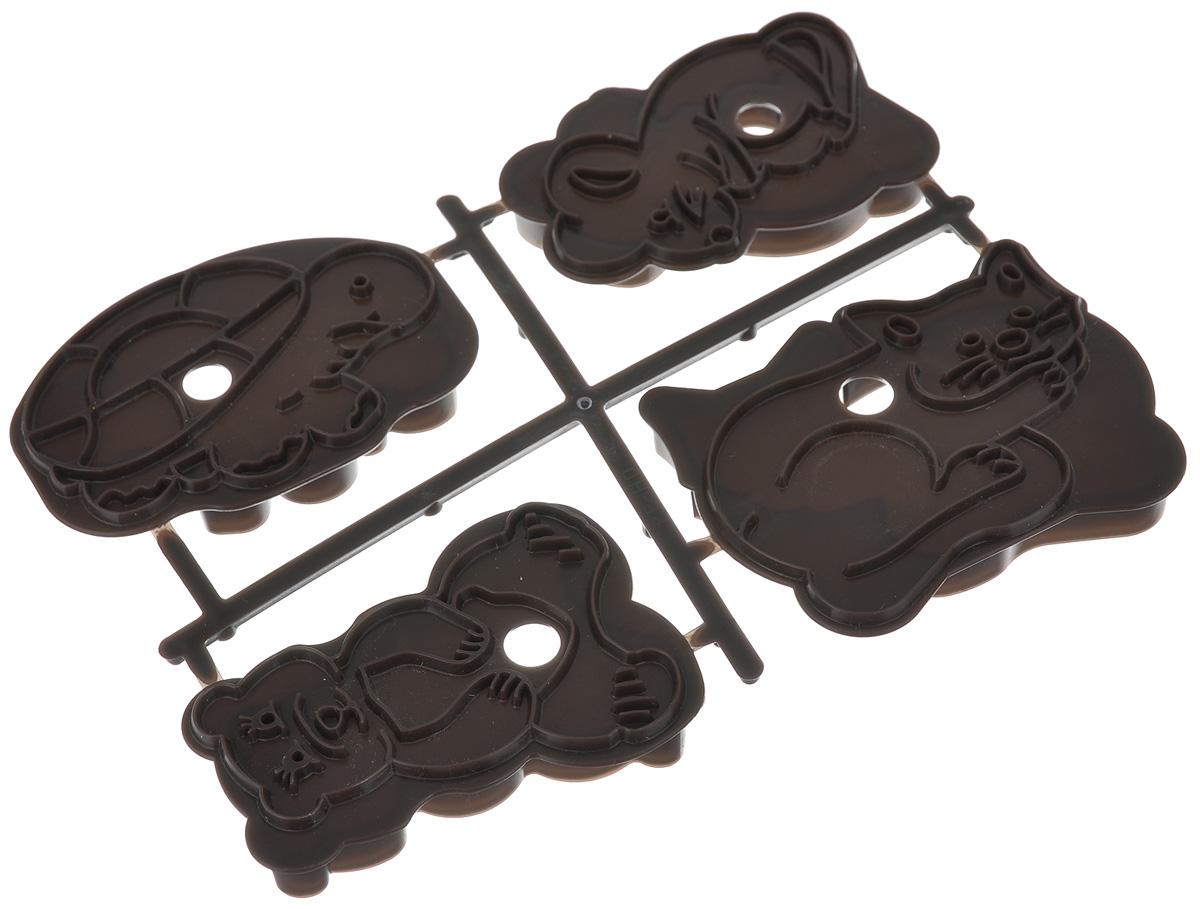 Формочка для печенья Zenker, цвет: коричневый, 4 шт43062_коричневыйНабор Zenker состоит из четырех пластиковых форм, предназначенных для вырезания объемного фигурного печенья. Формы выполнены в виде медвежонка, черепахи, кота и мышки. Если вы любите побаловать своих домашних вкусным и ароматным печеньем по вашему оригинальному рецепту, то формы для вырезания печенья как раз то, что вам нужно! Средний размер формы: 8 см х 6 см х 1 см.
