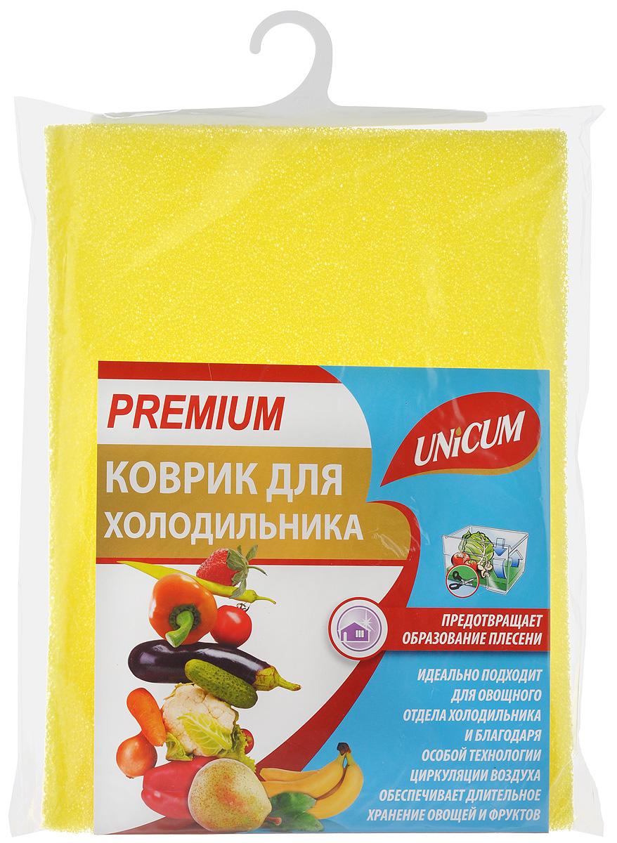 Коврик для холодильника Unicum Premium, цвет: желтый, 32 х 50 см303262_желтыйКоврик Unicum Premium, изготовленный из пенополиуретана, идеально подходит для овощного отдела холодильника и благодаря особой технологии циркуляции воздуха обеспечивает длительное хранение овощей и фруктов, предотвращает образование плесени. Впитывает лишнюю воду, конденсат, обеспечивая необходимый для хранения продуктов питания уровень влажности. Можно мыть в воде при температуре 30°С.