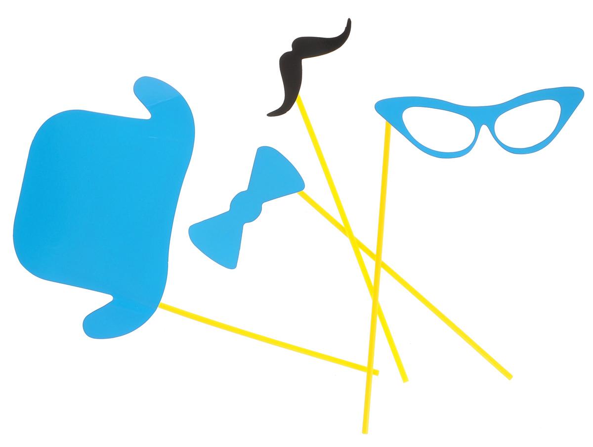 Набор для вечеринок Феникс-Презент, цвет: голубой, 4 предмета. 3920939209Набор для вечеринок Феникс-Презент внесет нотку задора и веселья в ваш праздник. В набор входит шляпа, очки, усы и галстук-бабочка. Изделия выполнены из плотного картона, имеют крепление на пластиковой палочке. Такой набор позволит причудливо изменить внешний вид человека. Идеальный вариант для игр и театрализованных сценок. Длина палочек: 20 см.