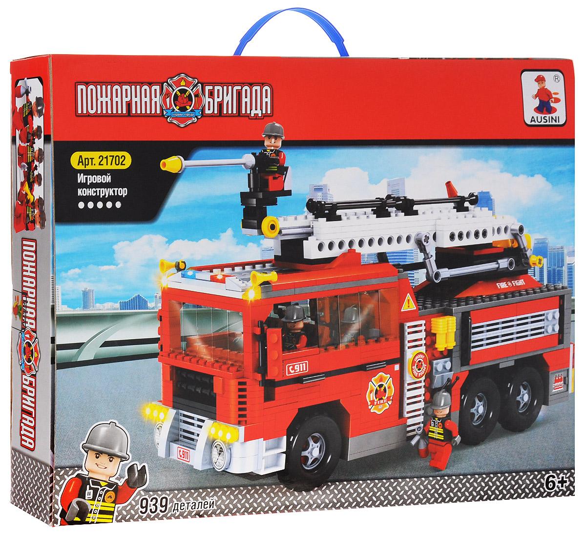 Ausini Конструктор Пожарная бригада 2170221702Конструктор Ausini Пожарная бригада состоит из 939 элементов, с помощью которых ребенок сможет построить большую пожарную машину с командой (6 фигурок в комплекте). Лестница пожарной машины может вращаться, подниматься и выдвигаться. Детали между собой прекрасно скрепляются, а также совместимы с конструкторами других марок. Малыш часами будет играть с этим конструктором, придумывая разные истории и комбинируя детали. Конструктор Ausini Пожарная бригада - это замечательная развивающая игрушка, которая послужит не только в качестве развлечения вашего ребенка, но и поможет ему в совершенствовании таких жизненно важных навыков, как мелкая моторика, тактильное и визуальное восприятие, мышление, воображение, внимательность и усидчивость, а также познакомит его с основами моделирования и конструирования. Совместим с конструкторами Лего.