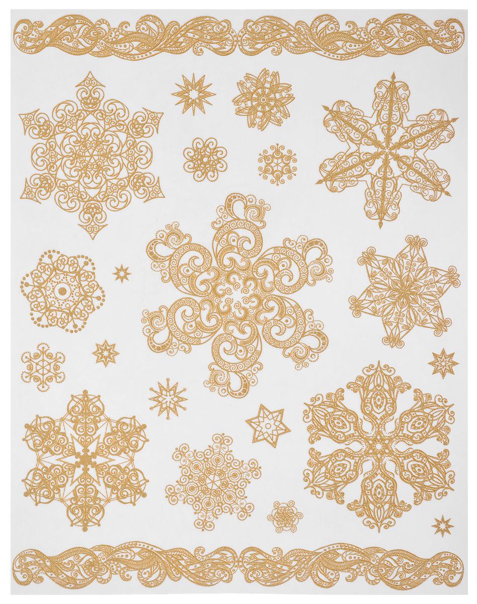Новогоднее оконное украшение Феникс-Презент Снежинки. 3124931249Новогоднее оконное украшение Феникс-Презент Снежинки поможет украсить дом к предстоящим праздникам. На одном листе расположены наклейки в виде узоров и снежинок, декорированные блестками. Наклейки изготовлены из ПВХ. С помощью этих украшений вы сможете оживить интерьер по своему вкусу, наклеить их на окно, на зеркало. Новогодние украшения всегда несут в себе волшебство и красоту праздника. Создайте в своем доме атмосферу тепла, веселья и радости, украшая его всей семьей. Размер листа: 30 см х 38 см. Размер самой большой наклейки: 29,5 см х 3 см. Размер самой маленькой наклейки: 1,5 см х 1,5 см.