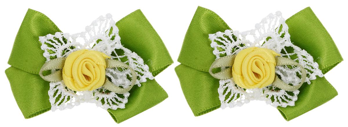 Бант-мини для младенцев Baby\'s Joy, цвет: зеленый, желтый, 2 шт. MN 151m ( MN 151m_зеленый/роза )