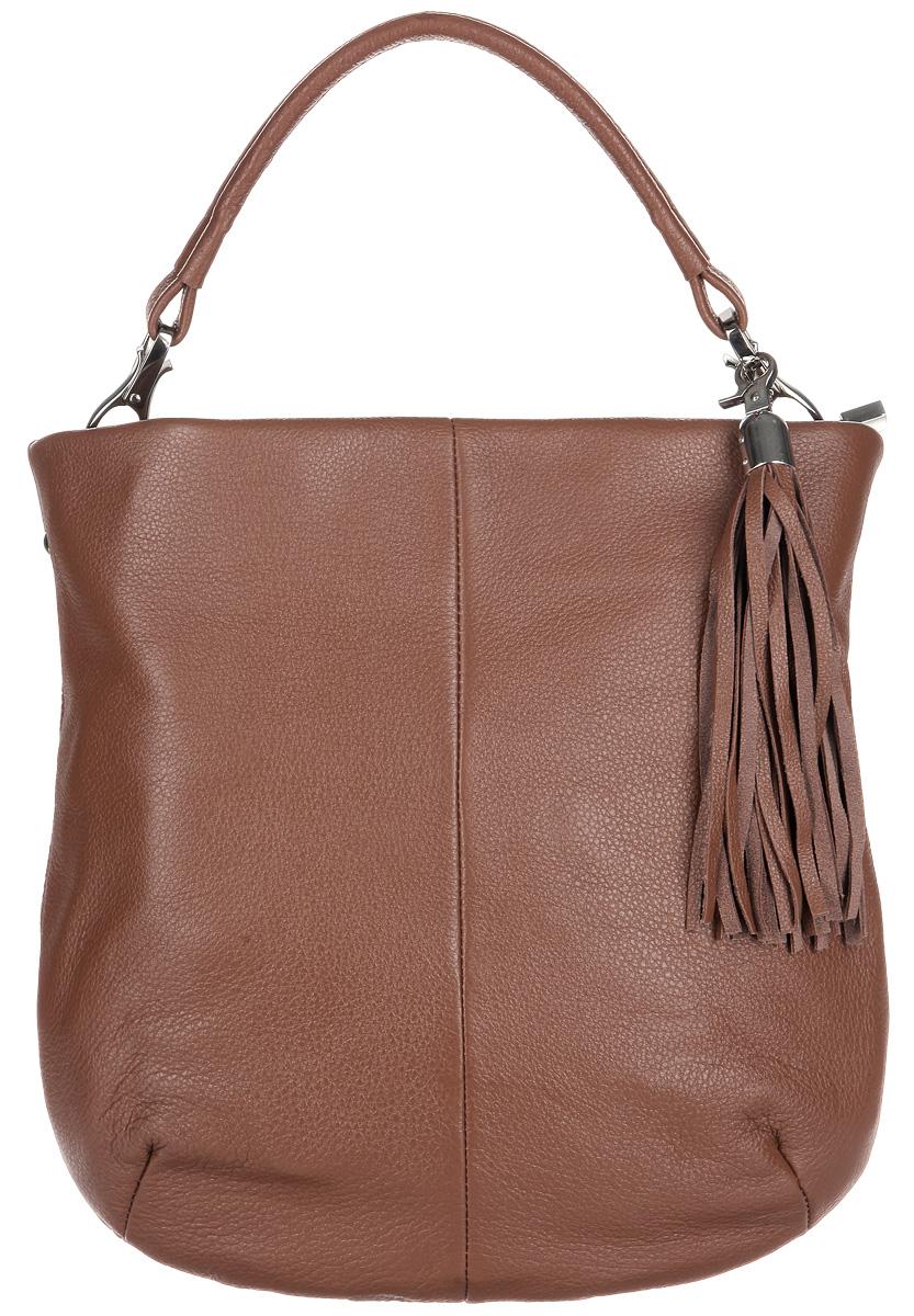 Сумка женская Afina, цвет: коричневый. 863863Элегантная сумка Afina выполнена из натуральной кожи. Изделие декорировано съемным брелоком в виде кисточки. Сумка закрывается на застежку-молнию. На лицевой стороне изделия - один втачной карман на застежке-молнии. Внутри - одно большое отделение. Также внутри - один втачной карман на застежке-молнии и два небольших накладных кармана для телефона и разных мелочей. Изделие оснащено удобным не съемным плечевым ремнем, который регулируется по длине. В этом сезоне этот модный аксессуар поможет вам быть в тренде!