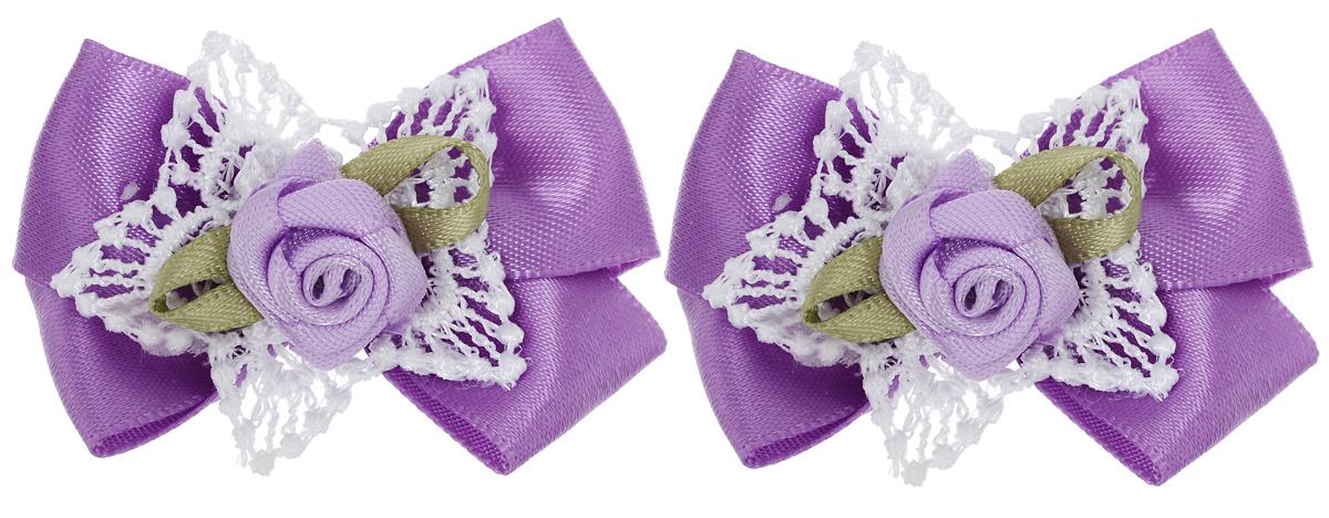 Бант-мини для младенцев Baby\'s Joy, цвет: фиолетовый, 2 шт. MN 151m ( MN 151m_фиолетовый/роза )