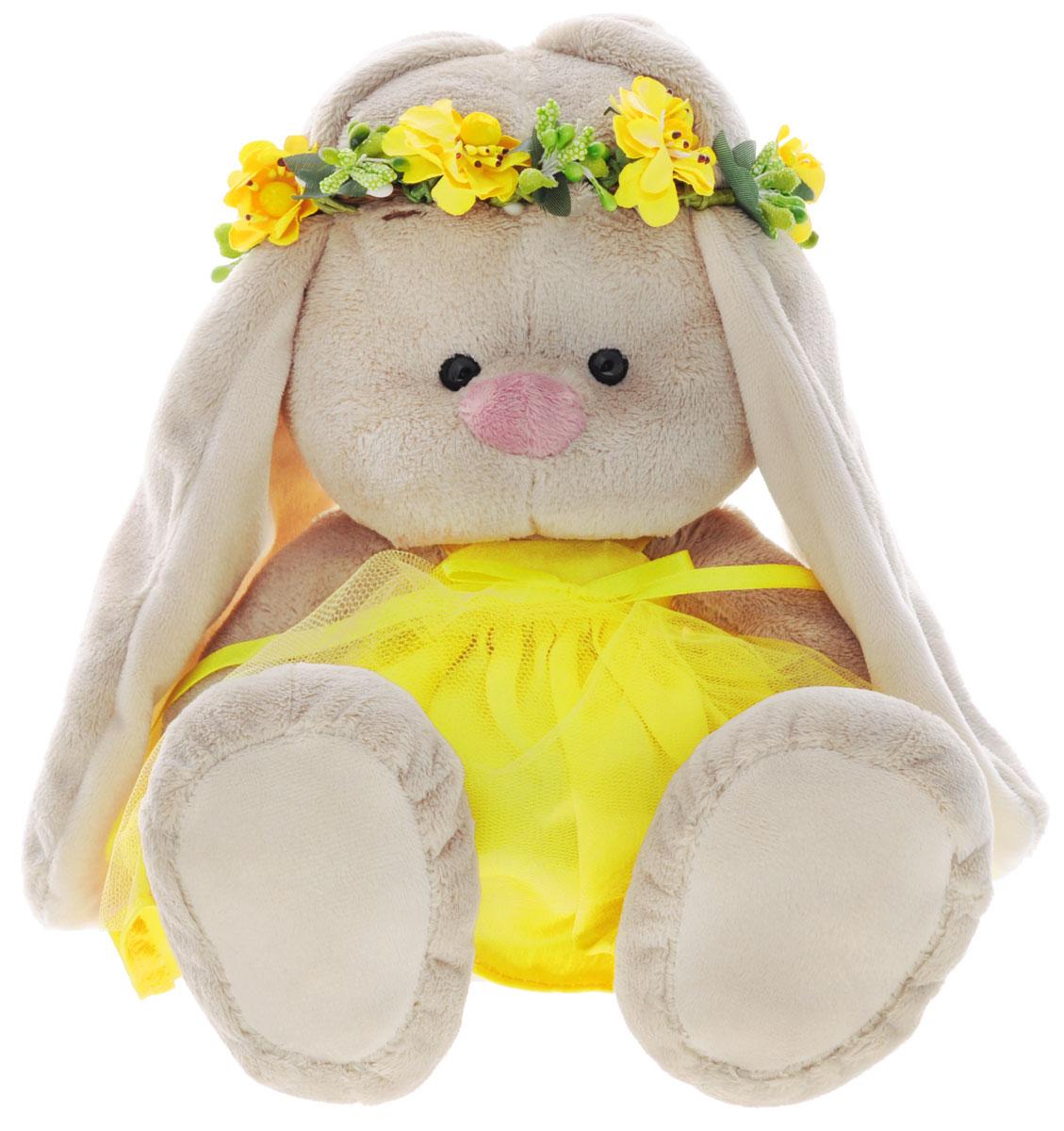 Мягкая игрушка Зайка Ми в веночке и платье цвет желтый 23 см