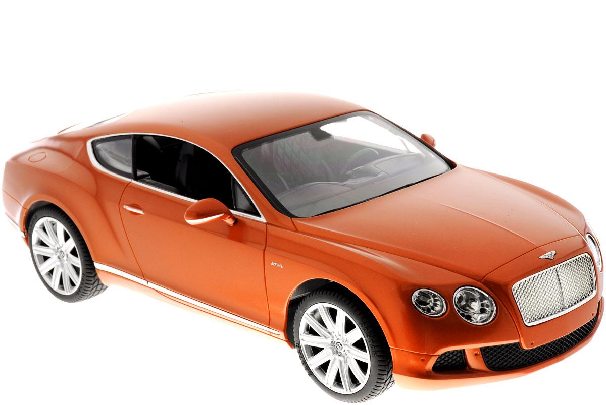 Rastar Радиоуправляемая модель Bentley Continental GT Speed цвет коричневый49800_коричневыйРадиоуправляемая модель Rastar Bentley Continental GT Speed станет отличным подарком любому мальчику! Все дети хотят иметь в наборе своих игрушек ослепительные, невероятные и крутые автомобили на радиоуправлении. Тем более, если это автомобиль известной марки с проработкой всех деталей, удивляющий приятным качеством и видом. Одной из таких моделей является автомобиль на радиоуправлении Rastar Bentley Continetal GT Speed. Это точная копия настоящего авто в масштабе 1:14. Авто обладает неповторимым провокационным стилем и спортивным характером. Потрясающая маневренность, динамика и покладистость - отличительные качества этой модели. Возможные движения: вперед, назад, вправо, влево, остановка. Имеются световые эффекты. Пульт управления работает на частоте 40 MHz. Для работы игрушки необходимы 5 батареек типа АА (не входят в комплект). Для работы пульта управления необходима 1 батарейка 9V (6F22) (не входит в комплект).