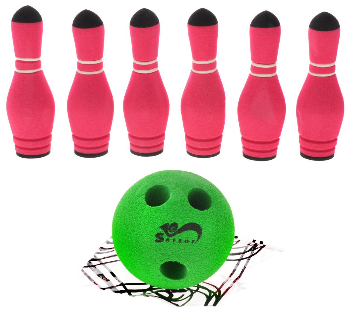 Safsof Игровой набор Мини-боулинг цвет красный зеленыйMBB-05(B)_красный, зеленыйИгровой набор Safsof Мини-боулинг, изготовленный из вспененной резины, состоит из шести кеглей и шара. Набор выполнен из мягкого материала, что обеспечивает безопасность ребенку. Суть игры в боулинг - сбить шаром максимальное количество кеглей. Число игроков и количество туров - произвольное. Очки, набранные с каждым броском мяча, рассматриваются как количество сбитых кегель. Расстояние, с которого совершается бросок, определяется игроками. Каждый игрок имеет право на два броска в одной рамке (рамка - треугольник, на поле которого выстраиваются кегли перед каждым первым броском очередного игрока). Бросок, при котором все кегли сбиты, называется страйк и обозначается как Х. Если все кегли сбиты первым броском, второй бросок не требуется: рамка считается закрытой. Призовые очки за страйк - это сумма кеглей, сбитых игроком следующими двумя бросками. Выигрывает тот игрок, который в сумме набирает больше очков.