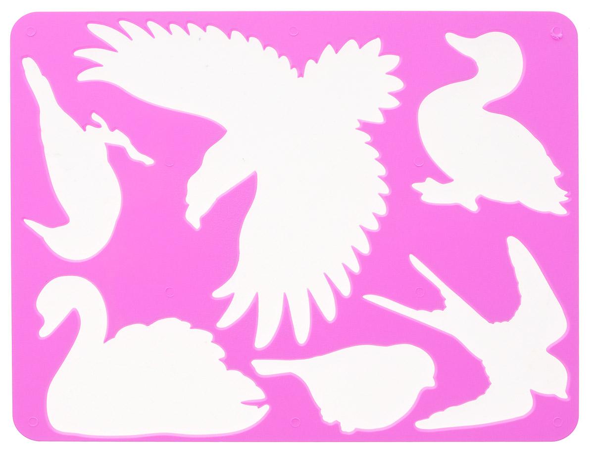 Луч Трафарет прорезной Птицы цвет розовый