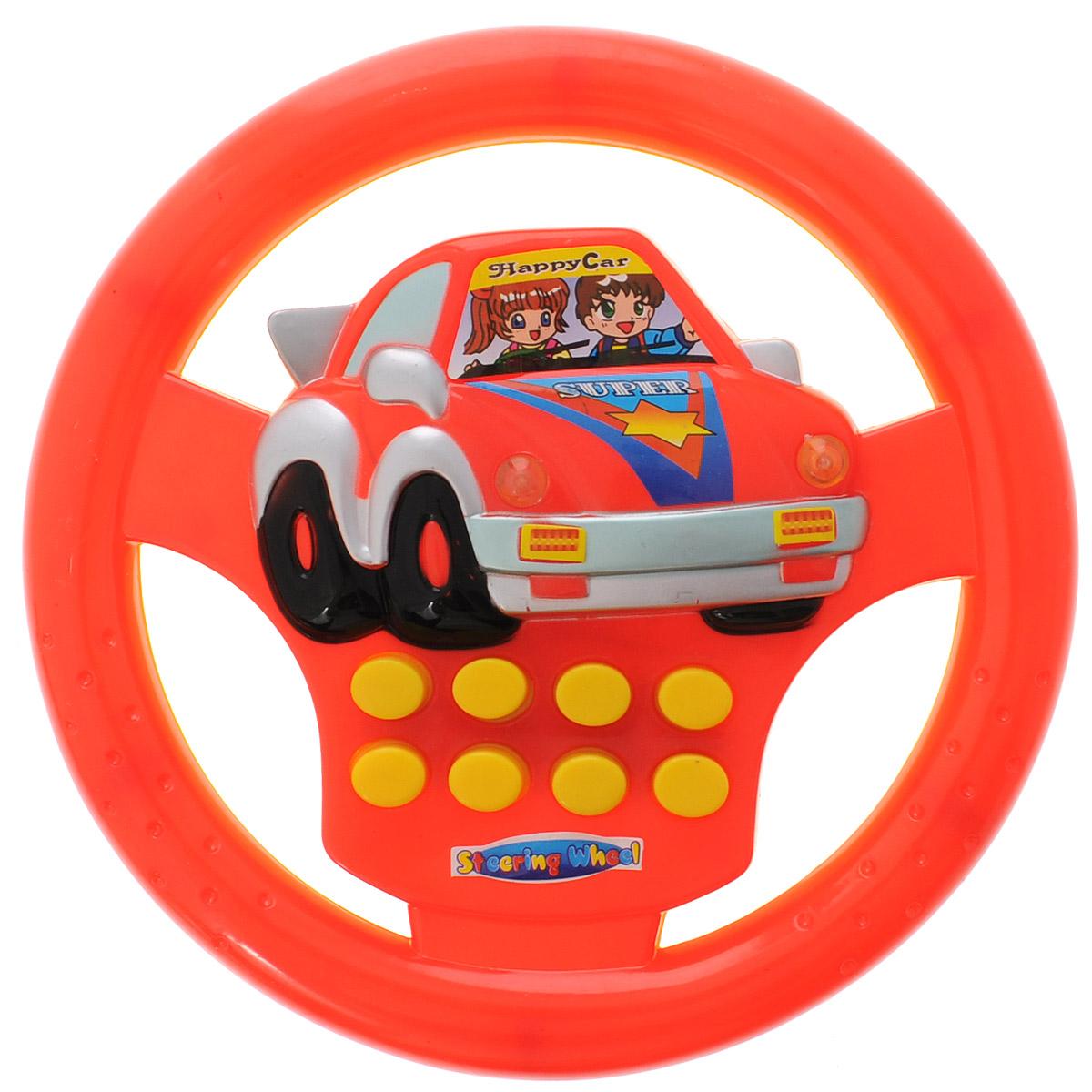 Junfa Toys Развивающая игрушка Руль цвет красный желтый748C_красный, желтыйРазвивающая игрушка Junfa Toys Руль надолго займет внимание вашего ребенка. Она выполнена из безопасного пластика в виде руля автомобиля. На руле расположены 8 кнопок, которые активирует различные световые и звуковые эффекты, например, клаксон, шум мотора. Развивающая игрушка Руль способствует развитию цветового и звукового восприятий, внимания, воображения, сообразительности, памяти, координации движений и мелкой моторики рук. Для работы игрушки необходимы 2 батарейки типа АА (не входят в комплект).