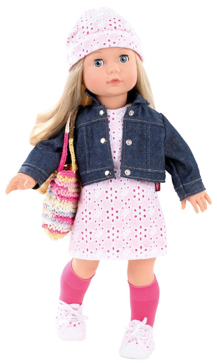 Gotz Кукла Джессика блондинка1490366Очаровательная кукла Джессика станет замечательным подарком для каждой девочки, а также опытных коллекционеров. С необычной куклой, которая так похожа на настоящую девочку, можно проводить много времени вместе, придумывая увлекательные сюжеты для игр. Кукла Gotz с виниловым подвижным телом подходит для активных игр дома и на улице. У игрушки светлые густые волосы, которые позволяют делать прически, расчесывать и мыть ей голову. Джессика одета в стильный наряд, состоящий из розового с белым платья и джинсовой курточки. На голове у нее - шапочка в тон платью, на ножках - белые кедики и розовые гольфики. В комплекте с куколкой имеется яркая вязаная сумочка. Реалистичные черты лица и большие глазки с ресницами позволяют ребенку погрузиться в атмосферу игр по настоящему сценарию, повторять сюжеты из жизни и заботиться о маленькой девочке.