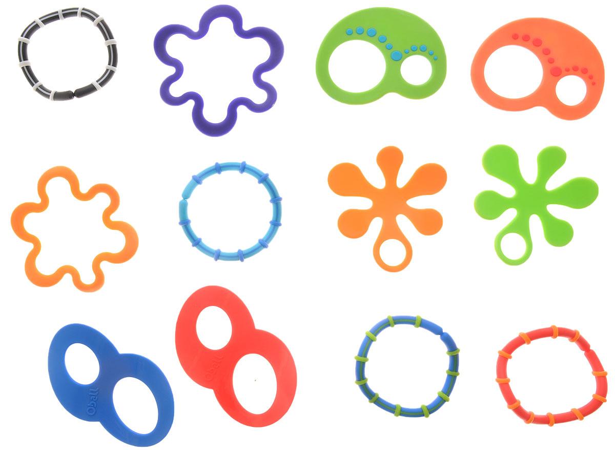 Oball Набор прорезывателей Забавные колечки 12 шт81506Набор прорезывателей Oball Забавные колечки, изготовленных из прочного безопасного материала, непременно понравятся вашему малышу. Набор содержит 12 разноцветных прорезывателей в виде колечек. Колечки можно соединять между собой, крепить на них другие игрушки. Яркие цвета развивают зрение малыша. Благодаря своей форме их легко хватать маленькими ручками. Рельефные поверхности для кусания успокоят нежные десна вашего малыша. Для изготовления использовался исключительно качественный пластик, который не травмирует и не раздражает десны малыша. Такие прорезыватели непременно понравятся крохе.