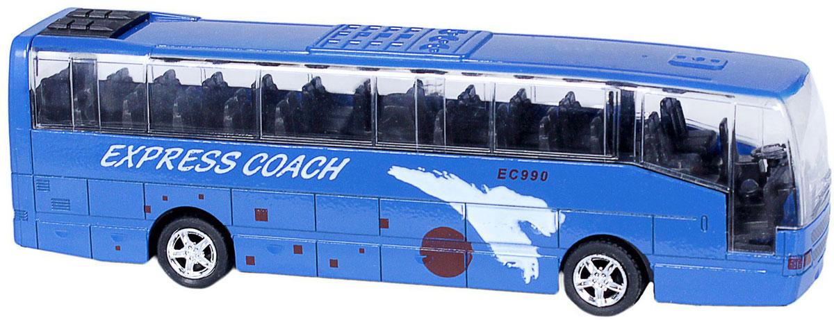 Big Motors Автобус инерционный Cheerful Bus цвет синийXL80136L_синийИнерционная игрушка Big motors Cheerful Bus выполненная из пластика и металла, станет любимой игрушкой вашего малыша. Игрушка представляет собой модель автобуса с надписью Express Coach. При нажатии на крышу замигает внутренняя подсветка, раздастся звук работающего двигателя и веселая музыка. Игрушка оснащена инерционным ходом. Автобус необходимо отвести назад, затем отпустить - и он быстро поедет вперед. Прорезиненные колеса обеспечивают надежное сцепление с любой гладкой поверхностью. Ваш ребенок будет часами играть с этой игрушкой, придумывая различные истории. Порадуйте его таким замечательным подарком! Рекомендуется докупить 3 батарейки типа LR44 (товар комплектуется демонстрационными).