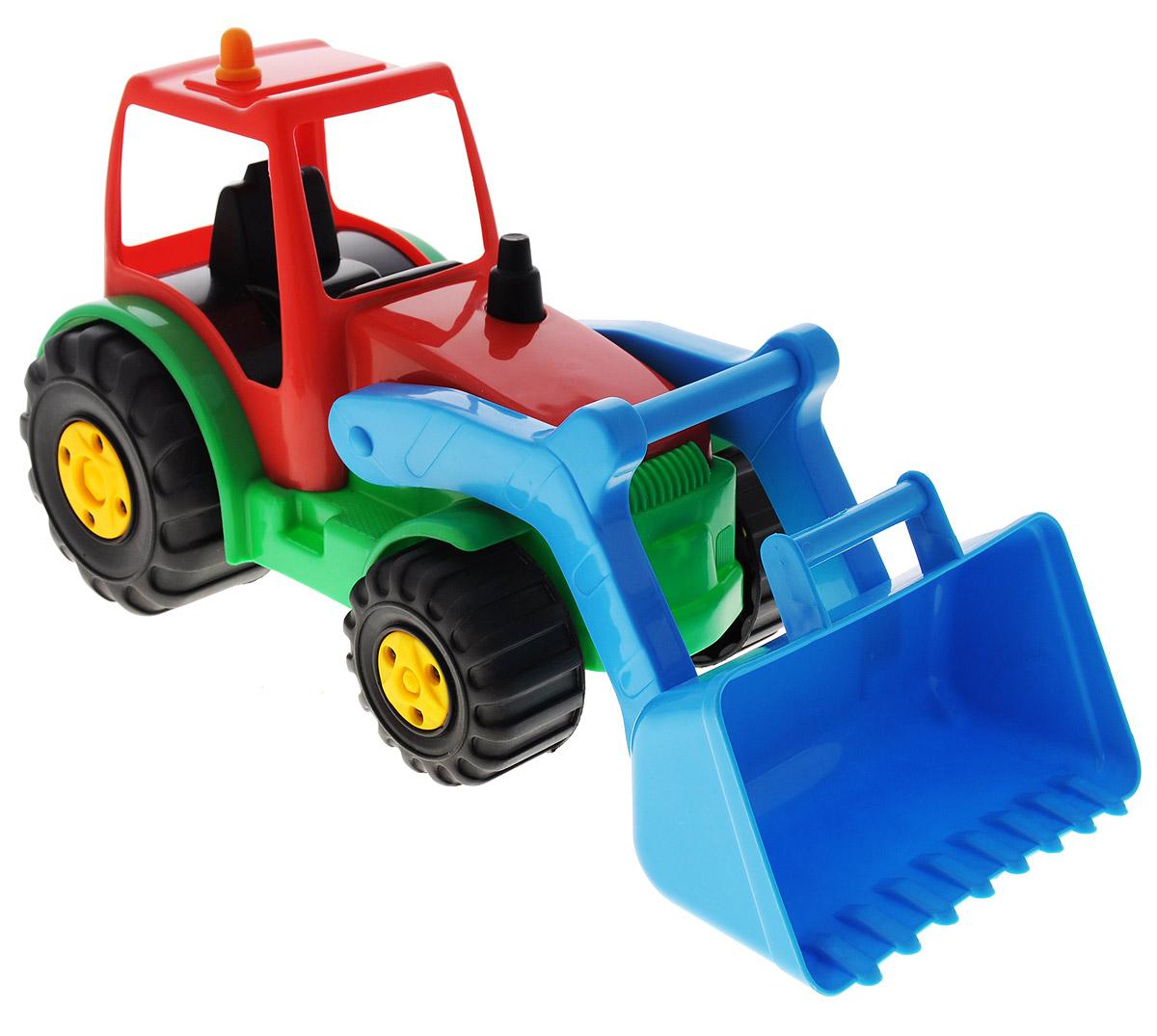AVC Игрушка Трактор цвет красный голубой01/5191_красный, голубойЯркая игрушка AVC Трактор, изготовленная из прочного безопасного пластика в виде трактора, отлично подойдет ребенку для различных игр. Трактор оснащен большим подвижным ковшом, с помощью которого можно перемещать различные материалы (камни, песок, строительный мусор). В просторную кабину можно поместить небольшую игрушку. Большие крутящиеся колеса обеспечивают игрушке устойчивость и хорошую проходимость. Ваш ребенок непременно обрадуется новому транспорту в своем игрушечном автопарке. Порадуйте его таким замечательным подарком!