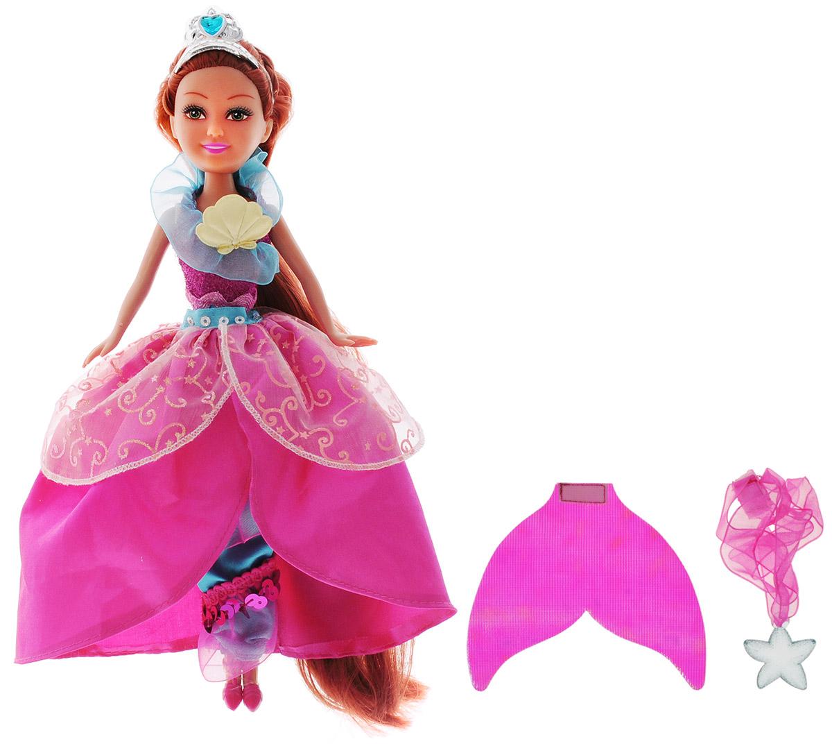 ABtoys Кукла Русалка-принцесса240299Великолепная кукла ABtoys Русалка-принцесса обязательно порадует вашу малышку и доставит ей много удовольствия от часов, посвященных игре с ней. Куколка с длинными рыжими волосами одета в шикарное розовое платье принцессы, украшенное узорами и блестками. На голове куклы надета диадема с голубым драгоценным камнем в форме сердца. Ножки, голова и ручки куколки подвижны, а волосы можно расчесывать. Вместе с куклой в наборе предлагается хвост русалки, переливающийся всеми цветами радуги и колье для маленькой хозяйки куклы. Brilliance Fair - милые подружки! Эти девочки могут развлекаться и никогда не устают друг от друга! Их невероятно привлекательные наряды делают их абсолютными королевами любой вечеринки! Кукла станет настоящей подружкой для своей юной обладательницы! Порадуйте свою малышку таким великолепным подарком!