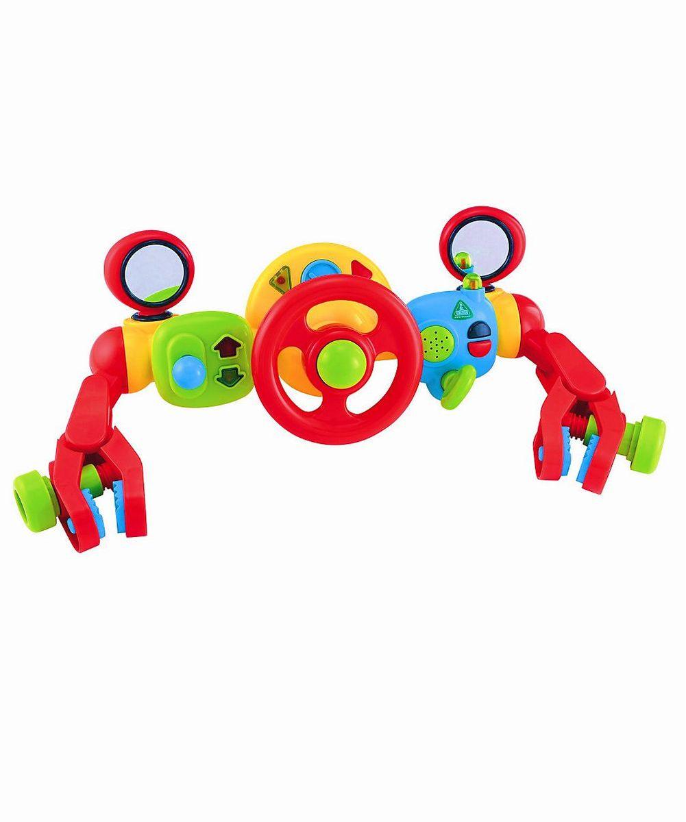 ELC Развивающая игрушка Активная игрушка на коляску Руль управления для малыша130648Коляска легко превращается в болид Формулы-1. В распоряжении маленького пилота многофункциональный руль и приборный щиток. Есть гудок, зажигание, зеркало, и рычаг сцепления! С помощью универсальных крепежей, легко крепится к коляски или к автомобильному креслу. Развивает зрительные, слуховые и тактильные способности вашего ребенка. Благодаря согласованным действиям рук и глаз движения ребенка становятся более совершенными и точными. Работает от батареек АА х 2 шт. Материал: высококачественный, первичный пластик. Максимальная ширина раздвижения зажимов на 9см. Расстояние от крепежа до крепежа примерно 30-32 см.