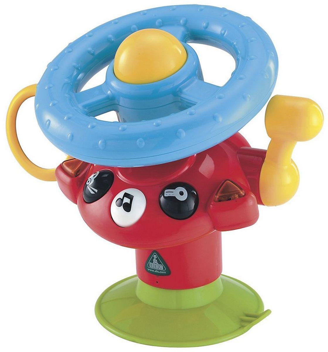 ELC Развивающая игрушка Веселый руль130656Ваш малыш никогда не заскучает в своем стульчике, если на него установить это замечательный руль. Звуки двигателя и сигналов, зеркало заднего вида, переключатель скорости, огоньки и 2 мелодии непременно привлекут его внимание. Крепиться к поверхности при помощи специальной присоски. Развивает зрительные, слуховые способности, способствует самовыражению, развитию творческого мышления и воображения. Необходимы 2х АА батарейки.