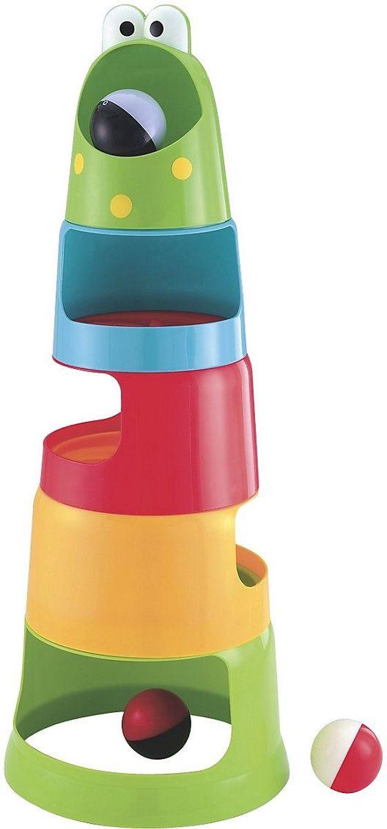 ELC Пирамидка Гонки130771Собери пирамидку. Положи шарик лягушке в рот и следи, как он скатится вниз! Можно запускать шарики по одному, а можно все три: пусть догоняют друг друга! Один из шариков светится. Игрушка развивает внимание и исследовательские качества. Материал: высококачественный первичный пластик. высота пирамидки в собранном виде 55 см., диаметр шарика 5см. Комплектуется батарейками А76 х 2шт.
