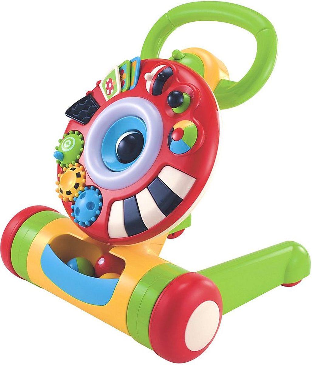 ELC Ходунки Машинка-ходунок130778Замечательные прочные ходунки со светом и звуком помогут Вашему малышу сделать первые шаги. Съемное кольцо с колесиками, которые можно крутить, с книжкой для листания, разными интересными кнопками и кучей других интересных штук. Со временем малыш научиться кидать в кольцо мячик - если попасть, оно засветится и зашумит. Учимся ходить? Ходунки станут надежной опорой. Прочная конструкция из высококачественного первичного пластика. Для удобства хранения ходунки складываются. Работает от 3 батареек AA (приобретаются отдельно). Размер ходунков в сложенном виде 52 х 40 х 11см. Диаметр мячика 5 см. размер коробки 56 х 44 х 19 см