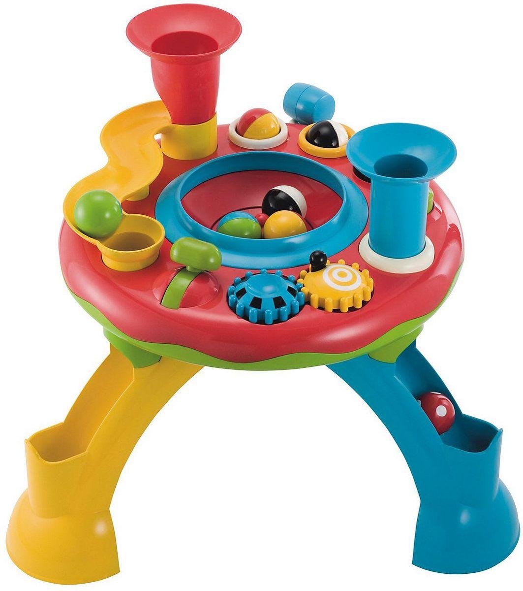 ELC Развивающий игровой центр130928Яркий игровой развивающий центр ELC обязательно понравится вашему малышу и доставит ему массу положительных эмоций. Игровой набор ELC - это оригинальная версия развивающего столика с цветными шариками. На столике имеются дорожки, воронки, шестеренки - словом, все, чтобы сделать путешествие шариков захватывающим. Масса всего занятного: шарики, вертушка, рычаги, включаются забавные звуки, мигают огоньки. В комплекте 8 шариков и молоток. Сравнивая цвет и размер разнообразных игрушек, ребенок развивает визуальное восприятие. Посредством различных действий - нажать, потянуть, удержать - ребенок тренирует координацию рук и глаз, мелкую моторику. Игровой центр развивает мышцы и координацию движений у малыша. Рекомендуется докупить 3 батарейки АА (не входят в комплект).