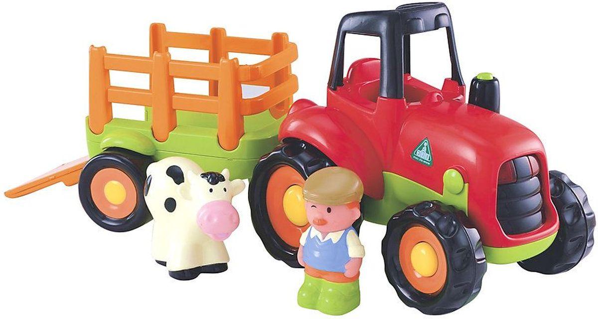 ELC Трактор фермера130962Прекрасный сельский трактор непременно понравится вашему малышу. Яркое цветовое решение добавляет игрушке еще больше выразительности. Посади фермера в кабину и услышишь смешные звуки. В прицеп заведи корову, нажми на кнопку, и заведётся двигатель. Ребенок может катать трактор по комнате, отстёгивать фургон. Порадуйте своего ребенка таким замечательным подарком! Для работы требуются 2 батарейки типа АА (комплектуется демонстрационными).