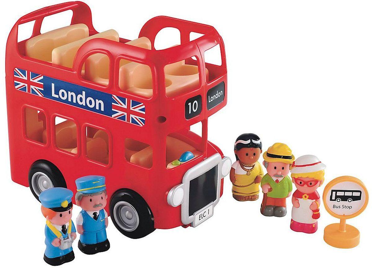ELC Автобус двухэтажный132577Игровой набор из серии Счастливая страна. В комплекте: автобус со звуковыми эффектами, 5 фигурок и дорожный знак. Рассаживай пассажиров на нижний или верхний этаж и отправляйся на весёлую экскурсию по Лондону. Развивает воображение Вашего ребенка, повышает способность создавать новые образы и фантазировать. Характеристики: Материал: высококачественный, первичный пластик, резина. Размер 19х20х11см. Требуется батарейки тип ААх2шт.