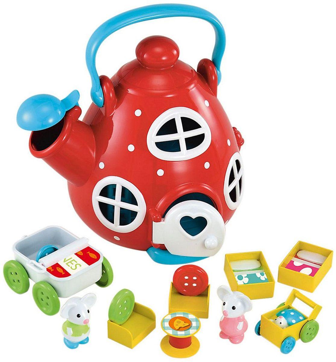 ELC Игровой набор Мышиный домик Чайник134303Игровой набор Мышиный домик Чайник надолго заинтересует вашу малышку. Мышиный домик выполнен в виде чайника с окошками дверью. Внутри разместилась необходимая для мышиного быта мебель: кроватки, кресла, столик. В семействе мышек есть малыш в специальной колясочке. Покатай мышей на их машине, накрой стол к ужину, а потом спусти их в уютную норку. В комплекте - семейство из трех мышей и забавная мебель, которую можно переставлять.