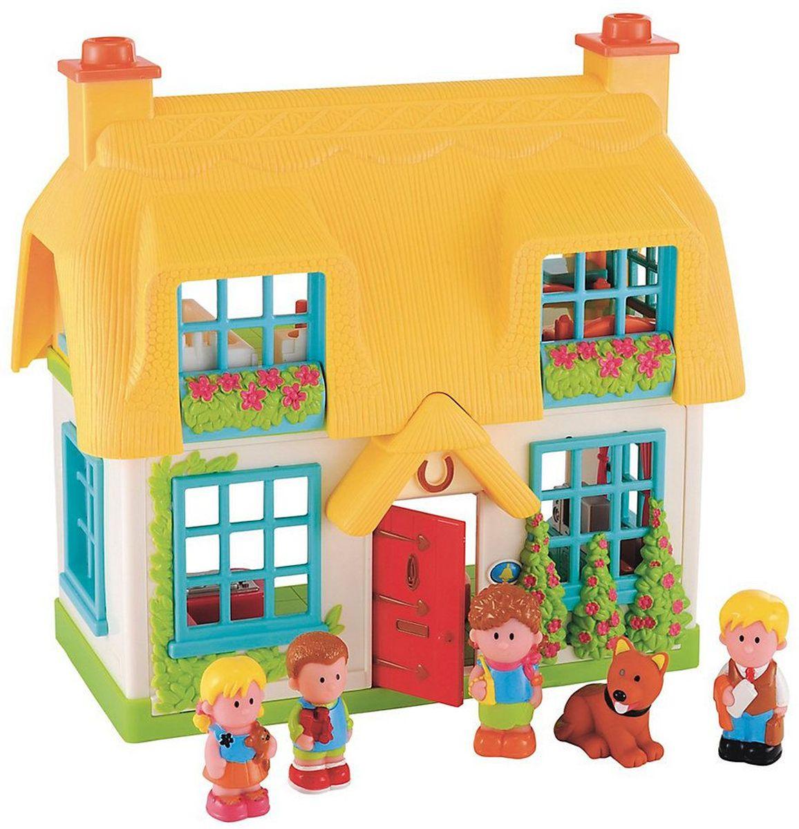 ELC Дом для кукол Игровой набор Домик роз137275Двухэтажный домик со встроенной мебелью и реалистичными звуками дверного звонка, телевизора, телефона и плиты. В наборе - семья из 4-х человек и собака. Играть ребенок может один или с друзьями. Развивает воображение ребенка, повышает способность мыслить, создавать новые образы и фантазировать, способствует развитию социальных навыков, побуждает ребенка исследовать и понимать окружающий мир. Материал: высококачественный пластик. Размер упаковки: 19,7 х 47 х 34,1 см