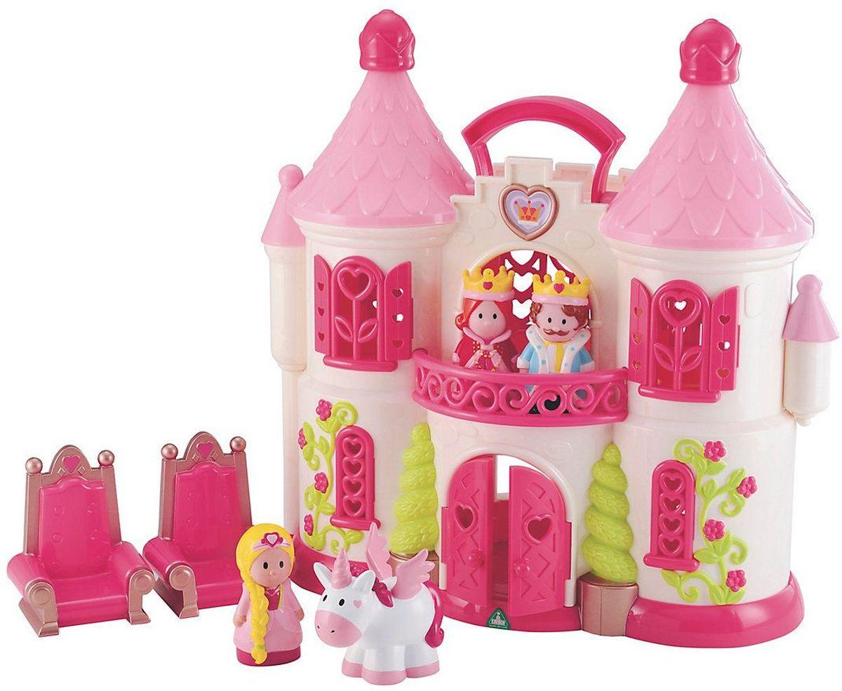 ELC Дом для кукол Сказочный замок с персонажами и единорогом138971Чудесный сказочный замок ELC станет любимой игрушкой для любой девочки. У замка оригинальные башенки и вензеля, красиво оформленные окна и двери. В наборе имеются предметы мебели. Замок достаточно легкий. Ребенок без труда сможет перенести его при помощи удобной ручки. Чтобы игра стала еще более увлекательной, раскройте замок, и вы увидите роскошь королевского дворца. В набор включены фигурки членов королевской семьи и единорог. Игра с набором повышает способность ребенка мыслить, создавать новые образы, фантазировать.