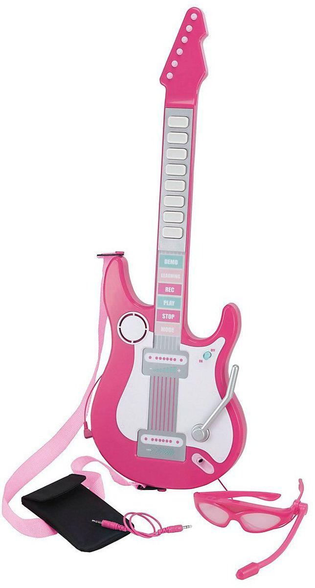 ELC Музыкальный инструмент Игрушка Электронная гитара139223Настоящая электрогитара для юного музыканта! Надень стильные очки, играй по кнопкам гитары со звуками струн и одновременно пой в настоящий работающий микрофон. Послушай акустический и электрический звуки гитары и пять встроенных мелодий, а еще присоедини свой мп3-плеер, чтобы играть под любимую песню. В игрушку встроен обучающий модуль с указательными лампочками, можно записывать и играть поверх. Требуется 3 батарейки АА.