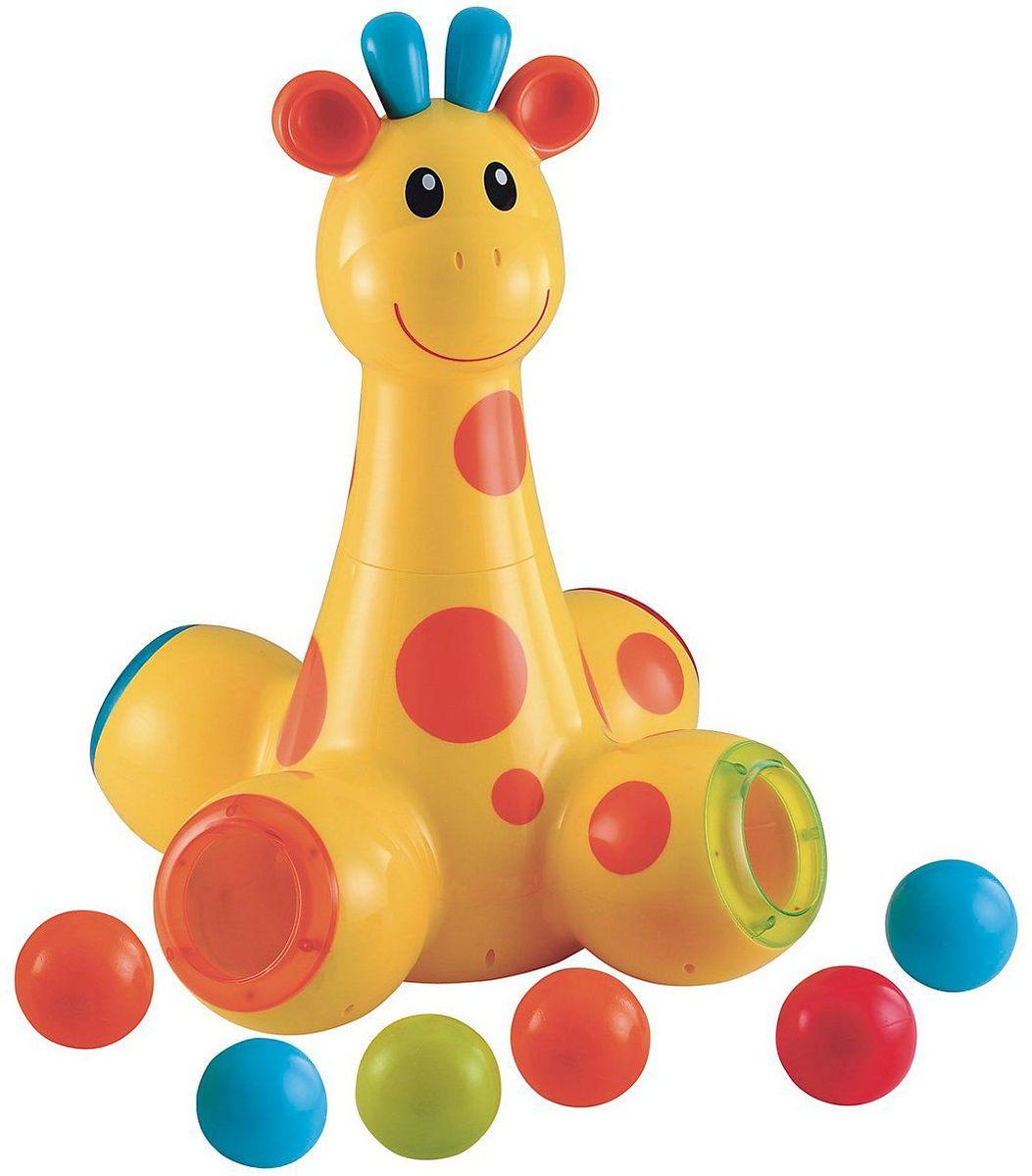 ELC Развивающая игрушка Игрушка для малыша Жираф140822Бросайте мячи через голову жирафа и наблюдайте, как они выкатываются из его ног. В какую же лапу попадет следующий мяч? Дизайнером игрушки является студент технологии и дизайна Бэнджамин Элпорт. В сотрудничестве с нами он разработал дизайн игрушки, которая способствовала бы развитию малышей во время игры. Высота 49,5 х ширина 35 х толщина 35 см. Требуются 3 батарейки размера АА.