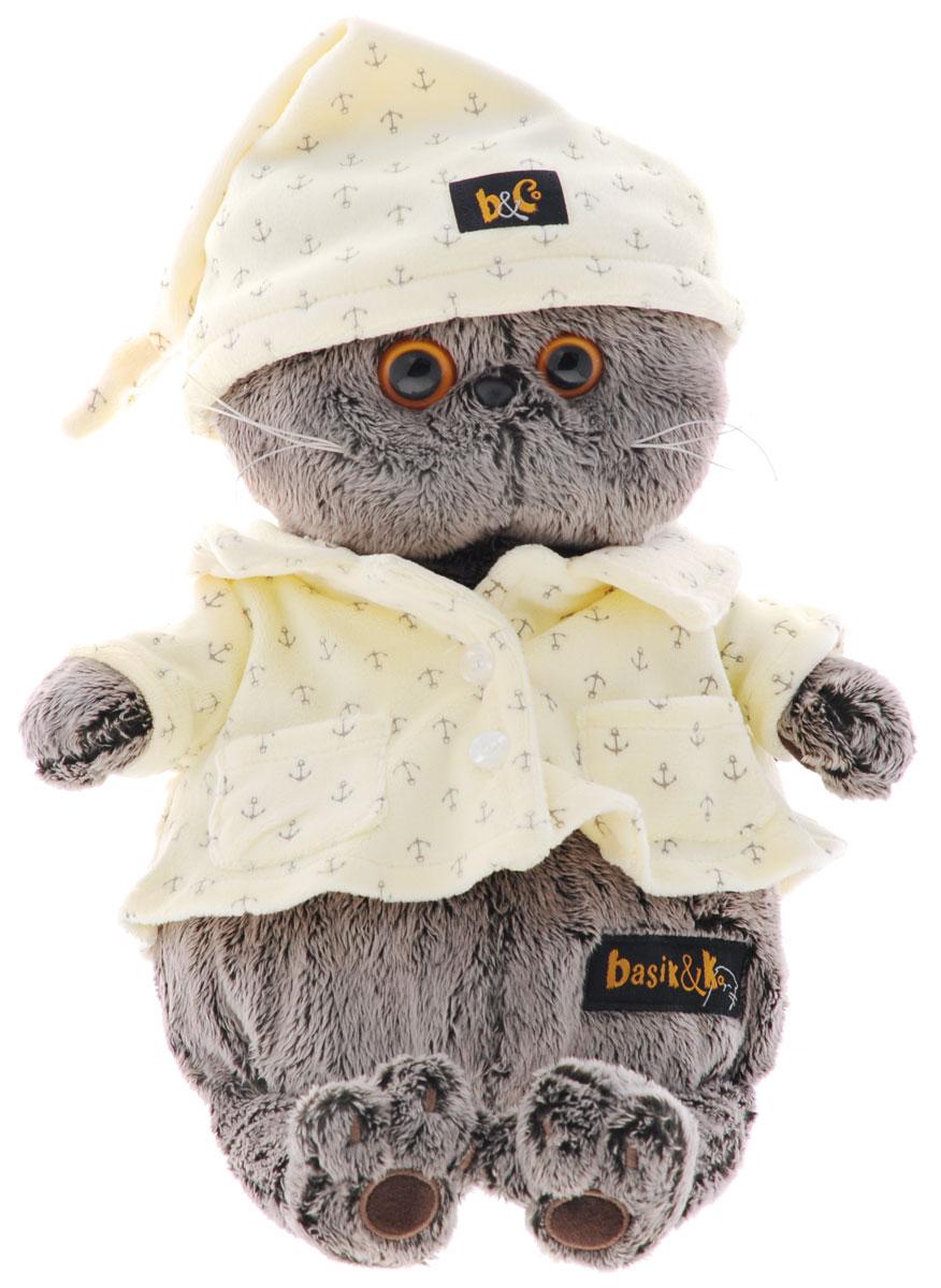 Мягкая игрушка Басик в пижаме 25 смKs25-024Мягкая игрушка Басик в пижаме подарит малышу немало прекрасных мгновений. Дети очень трепетно относятся к домашним животным, особенно они любят котов и собак и часто просят своих родителей приобрести им такого друга. Однако домашние питомцы не всегда хорошо влияют на детей - они могут поцарапать и даже вызвать аллергическую реакцию, поэтому приходят на помощь мягкие игрушки, очень похожие на настоящих питомцев. С этим шотландским вислоухим котиком можно играть, отдыхать и засыпать в обнимку, рассказывая свои секреты. У него густая плюшевая шерстка, которую так приятно гладить. У Басика круглые медовые глазки, маленькие ушки и черный носик. Басик в милой теплой пижамке цвета топленого молока из мягкого хлопка с принтом в виде якорьков. Мягкие игрушки очень полезны для малышей, потому что весьма позитивно влияют на детскую нервную систему, прогоняя всевозможные страхи. Играя, малыш развивает фантазию и воображение, развивает тактильную чувствительность и...