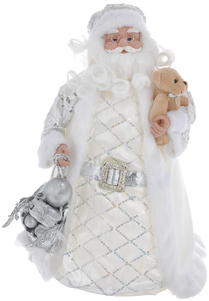 Кукла декоративная Санта Клаус, высота 41 см. 7487974879Великолепная кукла Санта Клаус, выполненная из пластика и текстиля, займет достойное место в вашей коллекции. Лицо куклы украшают оригинальные очки. Седые волосы Санта Клауса имеют игривые завитки. Санта Клаус наряжен в роскошную шубку, украшенную пайетками и меховой опушкой. На голове - шапка. В руке - мешок с подарками, декорированный блестками.