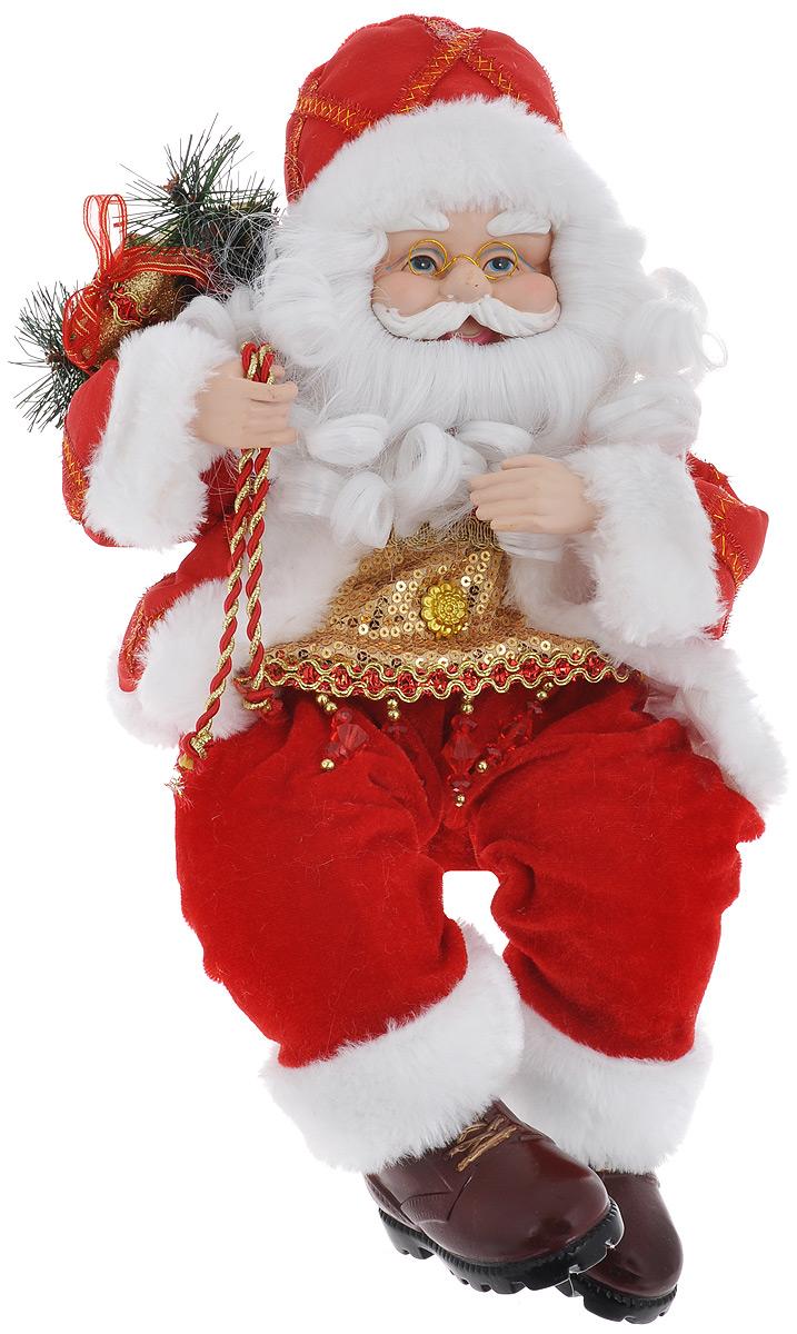 Кукла декоративная Санта Клаус, высота 41 см74850Великолепная кукла Санта Клаус, выполненная из пластика и текстиля, займет достойное место в вашей коллекции. Лицо куклы украшают оригинальные очки. Седые волосы Санта Клауса имеют игривые завитки. Румянец на щеках приближает куклу к живому прототипу. Кукла наряжена в шубку, украшенную пайетками. На ногах - ботиночки. На плече - мешок с подарками.