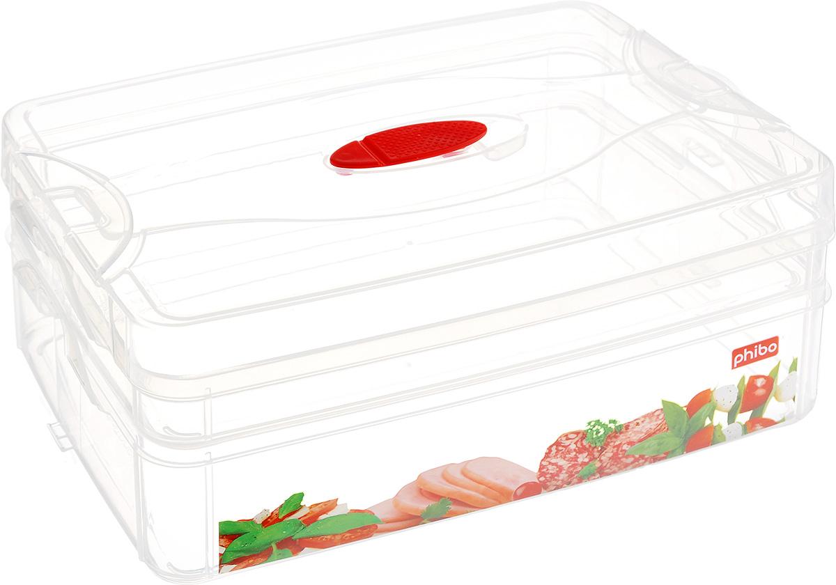 Контейнер для продуктов Phibo Smart System, 2 секции, с клапаном, 25 см х 16 см х 10,5 см. С12332С12332_колбасаКонтейнер Phibo Smart System изготовлен из высококачественного пластика, не содержит Бисфенол А. Предназначен для хранения продуктов. Изделие декорировано ярким рисунком овощей. Контейнер легко открывается, оснащен двумя съемными отделениями и клапаном на крышке. Не требует особого ухода. Контейнер Phibo Smart System - отличное решение для хранения продуктов. Размер маленького отделения (без крышки): 24 см х 15,5 см х 3 см. Объем маленького отделения: 1 л. Размер большого отделения: 24 см х 15,5 см х 6 см. Объем большого отделения: 2 л.