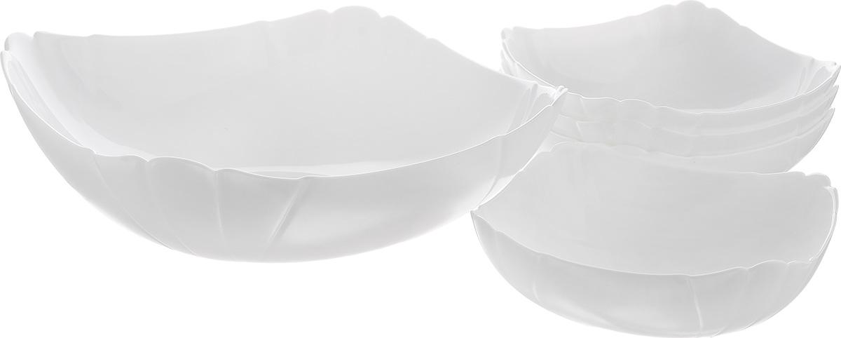 Набор салатников Luminarc Lotusia, 5 предметовJ3189Набор Luminarc Lotusia включает в себя 4 маленьких салатника и 1 большой. Изделия выполнены из высококачественного стекла. Салатники отлично подойдут для сервировки стола. Оригинальность дизайна набора придется по вкусу и ценителям классики, и тем, кто предпочитает утонченность и изысканность. Размер большого салатника по верхнему краю: 24,5 см х 24,5 см. Диаметр дна большого салатника: 11 см. Высота большого салатника: 7 см. Размер маленьких салатников по верхнему краю: 15 см. Диаметр дна маленьких салатников: 7 см. Высота маленьких салатников: 5,5 см.