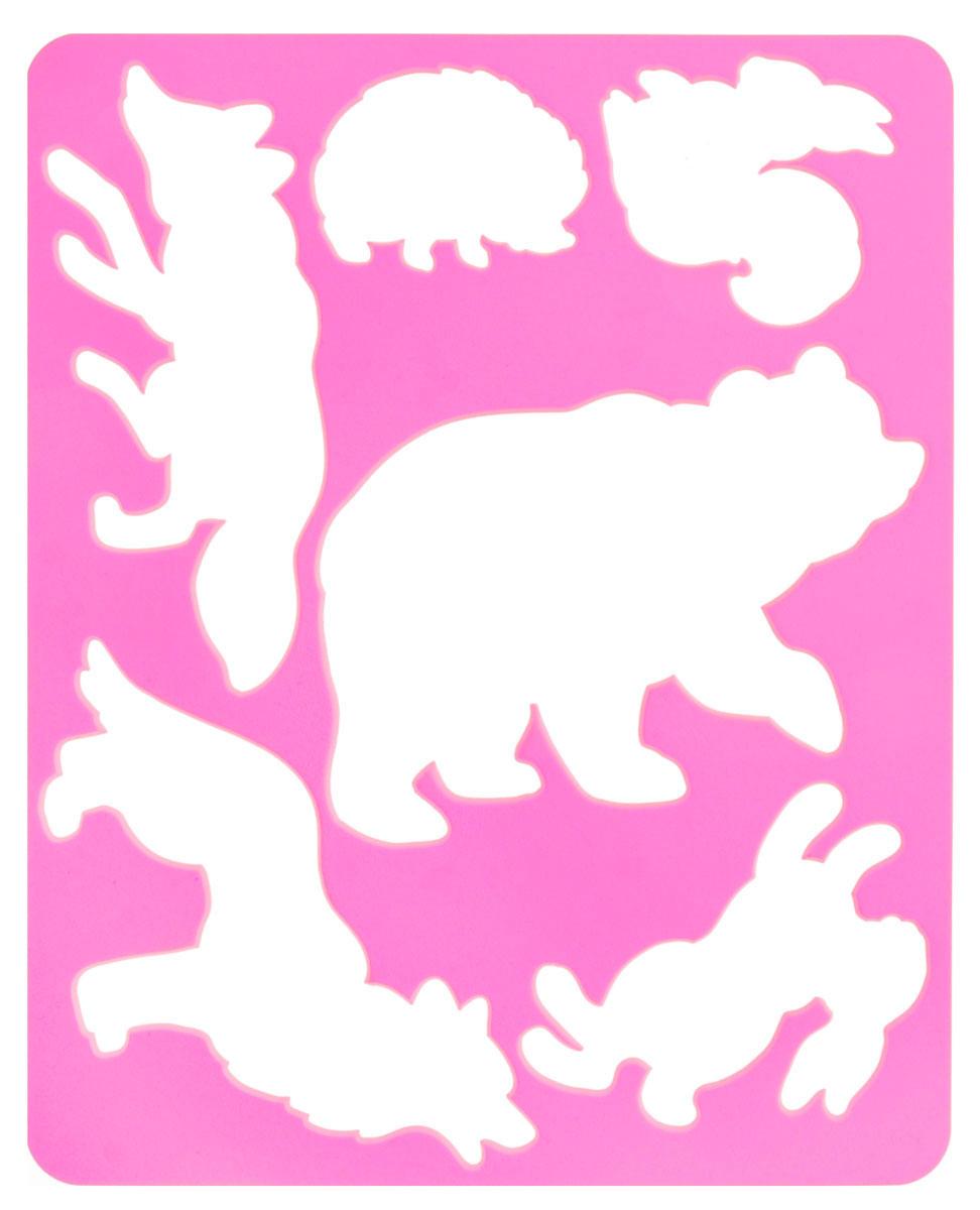 Луч Трафарет прорезной Лесные звери цвет розовый