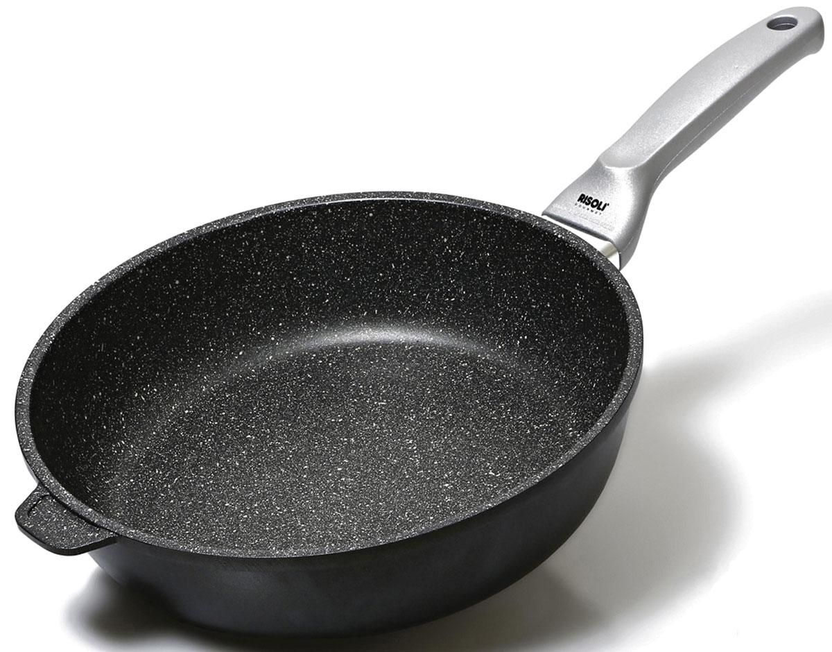 Сковорода глубокая Risoli Granito, с антипригарным покрытием. Диаметр 24 см01104GRIN/24Глубокая сковорода Risoli Granito изготовлена из литого алюминия с антипригарным гранитным покрытием Hard Stone - это 3-слойное покрытие, предназначенное для приготовления здоровой и диетической пищи без добавления масла. Наличие в составе гранитных частиц гарантирует повышенную прочность и долговечность изделия. Сковородка оснащена удобной термостойкой бакелитовой ручкой. Подходит для газовых, электрических и индукционных плит. Не рекомендуется мыть в посудомоечной машине. Диаметр (по верхнему краю): 24 см. Высота стенки: 8 см. Длина ручки: 20 см. Толщина стенки: 5 мм. Толщина дна: 7 мм.