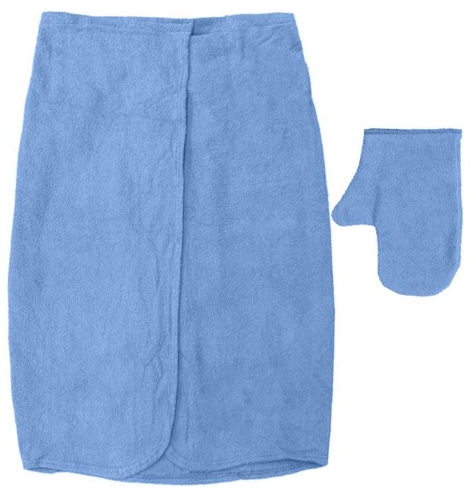 Комплект для бани и сауны Банные штучки, женский, цвет: голубой, 2 предмета. 3225032250_голубойЖенский комплект для сауны и бани Банные штучки изготовлен из натурального, хорошо впитывающего влагу хлопка. Комплект состоит из однотонной накидки и рукавицы. Накидка специального кроя снабжена резинкой и застежкой-липучкой. Имеет универсальный размер. В парилке можно лежать на ней, после душа вытираться. Рукавица защитит ваши руки от ожогов, может использоваться для массажа тела. Комплект создан для активных и уверенных в себе людей. Отдых в сауне или бане - это полезный и в последнее время популярный способ времяпровождения. Комплект Банные штучки обеспечит вам комфорт и удобство. Размер накидки: 80 см х 140 см. Размер рукавицы: 28 см х 17,5 см.