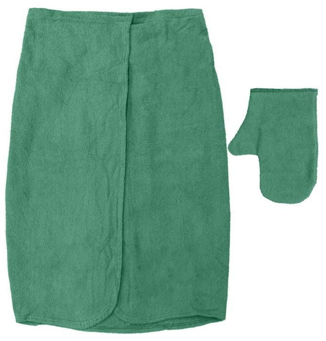 Махровый комплект для мужчин Банные штучки, цвет: зеленый, 2 предмета32251_зеленыйМахровый комплект для мужчин Банные штучки состоит из специальной накидки и рукавицы. Благодаря резинке накидка имеет универсальный размер, застегивается на липучку. Ее также можно использовать в качестве подстилки на лавку или как полотенце. Махровая ткань быстро впитывает влагу, обеспечивая комфорт во время использования. Специальная рукавица защитит ваши руки от ожогов во время нахождения в парилке, может использоваться как мочалка. Комплект идеален для бани, сауны, spa, хамама. Размер накидки: 140 см х 60 см. Размер рукавицы: 28 см х 21 см.