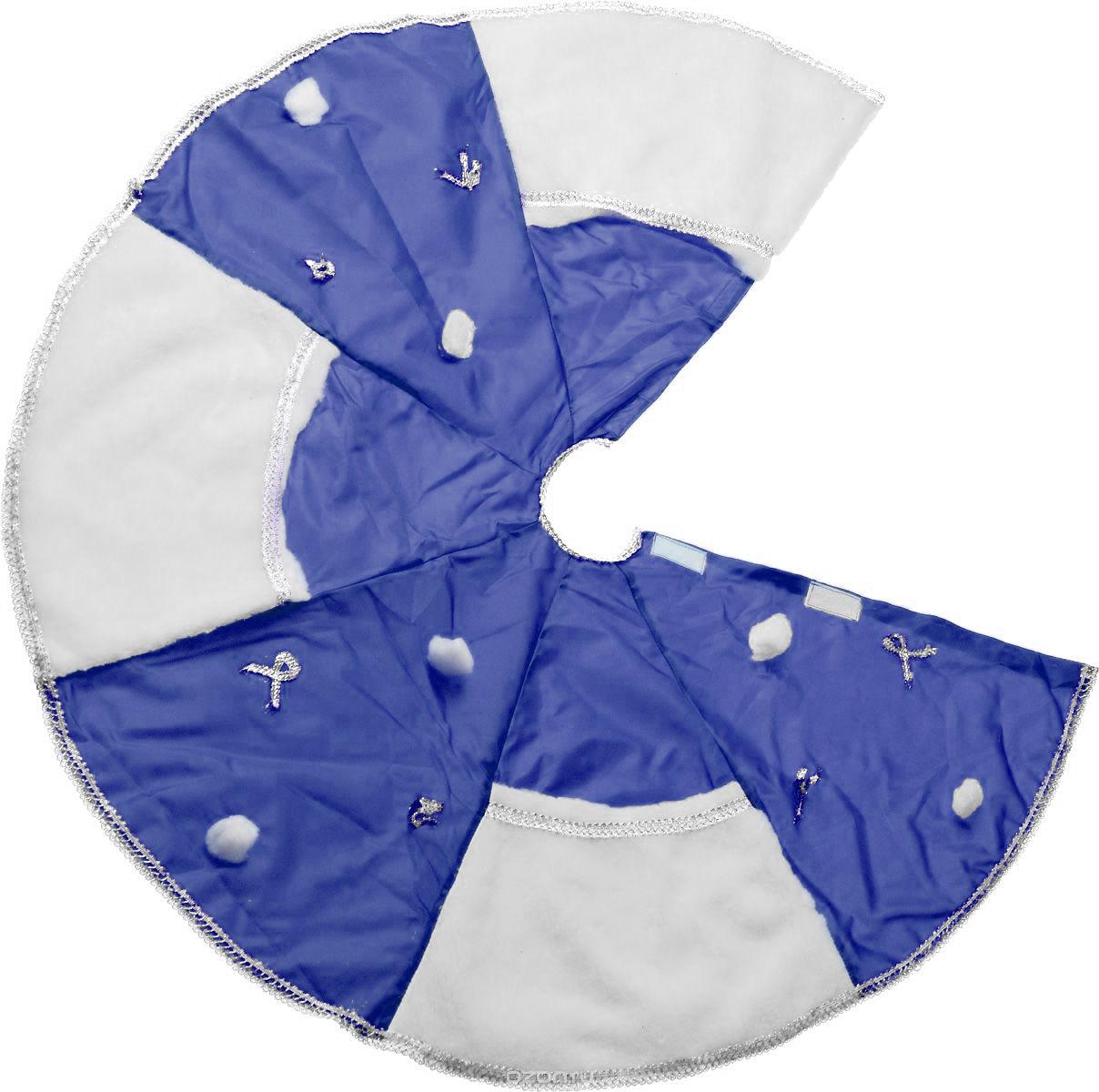 Покрывало под елку Eva, цвет: белый, синий, диаметр 95 см. А09А09Покрывало Eva, изготовленное из полиэстера и полипропилена, позволит оригинально украсить основание елки, собрать осыпающиеся елочные иголки и, благодаря большим кармашкам, великолепно укроет новогодние подарки. Покрывало фиксируется при помощи липучек. Диаметр покрывала: 95 см.
