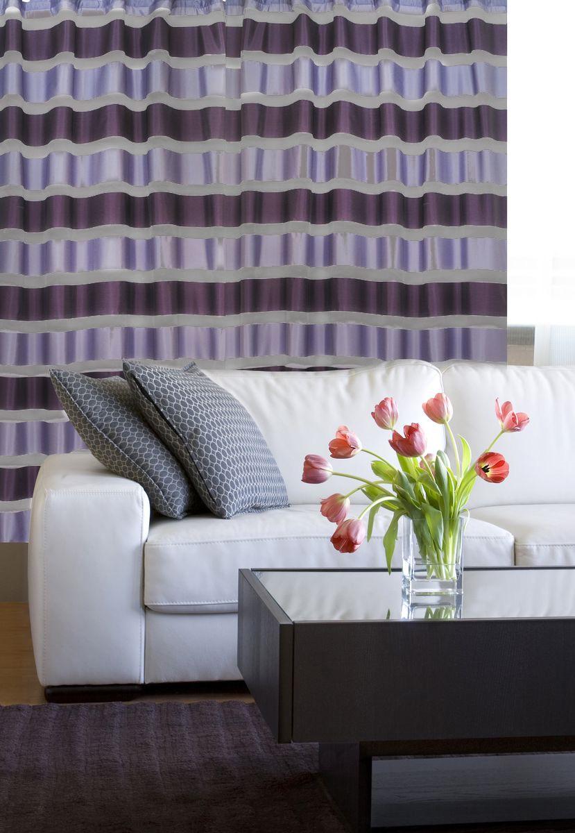 Штора Home Queen Яркие полосы, на петлях, цвет: темно-серый, лиловый, высота 250 см57479Изящная штора Home Queen Яркие полосы выполнена из полиэстера. Полупрозрачная ткань, приятная цветовая гамма, принт в полоску привлекут к себе внимание и органично впишутся в интерьер помещения. Такая штора идеально подходит для солнечных комнат. Мягко рассеивая прямые лучи, она хорошо пропускает дневной свет и защищает от посторонних глаз. Эта штора будет долгое время радовать вас и вашу семью! Штора крепится на карниз при помощи петель.