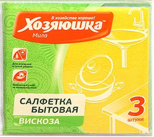 Салфетка бытовая Хозяюшка Мила, цвет: желтый, 35 х 35 см, 3 шт4001 желтыйСалфетка бытовая Хозяюшка Мила, выполненная из вискозы и полипропилена, хорошо впитывает влагу и легко выжимается. Отлично удаляет пыль, не оставляет разводов и ворсинок. Салфетка может использоваться для ухода за всеми видами поверхностей: деревянной и ламинированной мебели, кухонной мебели, кафеля, раковин. Размер салфетки: 35 см х 35 см. Комплектация: 3 шт.