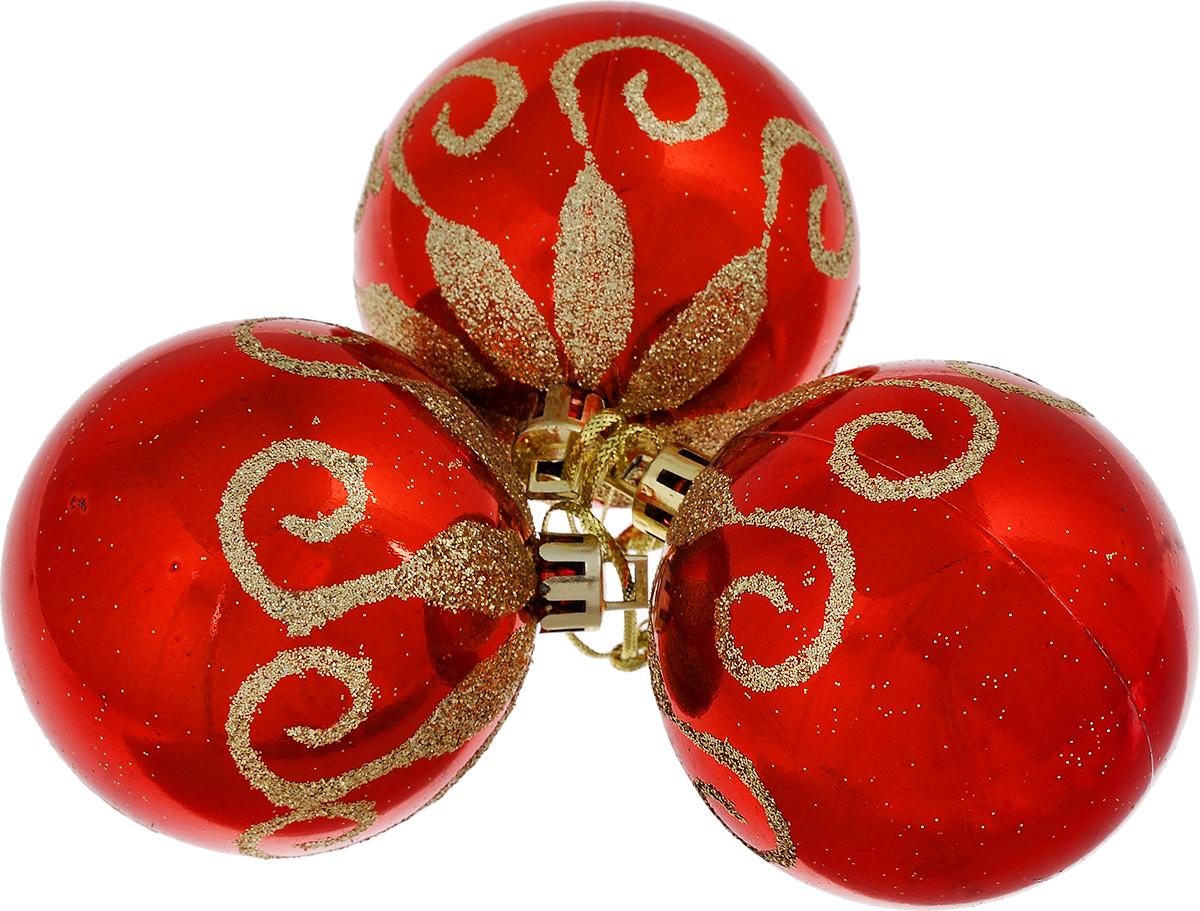 Набор новогодних подвесных украшений EuroHouse, цвет: красный, золотистый, диаметр 6 см, 3 штЕХ 9103Набор новогодних подвесных украшений EuroHouse прекрасно подойдет для праздничного декора новогодней ели. Набор состоит из 3 пластиковых украшений в виде глянцевых шаров, оформленных блестками. Для удобного размещения на елке для каждого изделия предусмотрена текстильная петелька. Елочная игрушка - символ Нового года. Она несет в себе волшебство и красоту праздника. Создайте в своем доме атмосферу веселья и радости, украшая новогоднюю елку нарядными игрушками, которые будут из года в год накапливать теплоту воспоминаний.