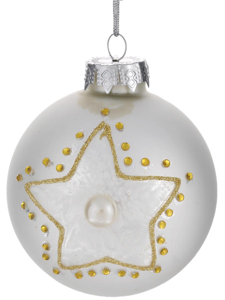 Новогоднее подвесное украшение Феникс-презент Зимняя звезда, диаметр 8 см38393Новогоднее подвесное украшение Феникс-презент Зимняя звезда отлично подойдет для декора праздничной ели. Изделие выполнено из высококачественного стекла в форме шара, оформлено изображением звезды, крупной бусиной под жемчуг, стразами и глиттером. Шар оснащен петелькой для подвешивания. Елочная игрушка - символ Нового года. Она несет в себе волшебство и красоту праздника. Создайте в своем доме атмосферу веселья и радости, украшая новогоднюю елку нарядными игрушками, которые будут из года в год накапливать теплоту воспоминаний. Серия украшений Magic Time принесет в ваш дом ни с чем не сравнимое ощущение праздника.