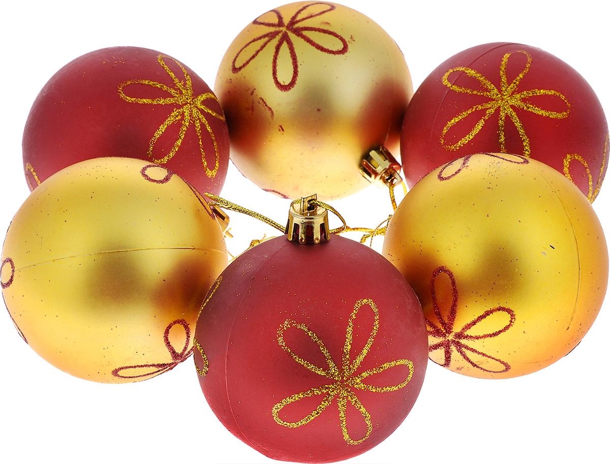 Набор новогодних подвесных украшений Euro House Цветы, цвет: красный, золотистый, диаметр 7 см, 6 штЕХ 6506Набор подвесных украшений Euro House Цветы прекрасно подойдет для праздничного декора новогодней ели. Набор состоит из 6 пластиковых украшений, выполненных в виде шаров. Шары оформлены рисунком из блесток в виде цветка. Для удобного размещения на елке для каждого украшения предусмотрена петелька, выполненная из текстиля. Елочная игрушка - символ Нового года. Она несет в себе волшебство и красоту праздника. Создайте в своем доме атмосферу веселья и радости, украшая новогоднюю елку нарядными игрушками, которые будут из года в год накапливать теплоту воспоминаний. Откройте для себя удивительный мир сказок и грез. Почувствуйте волшебные минуты ожидания праздника, создайте новогоднее настроение вашим дорогим и близким.