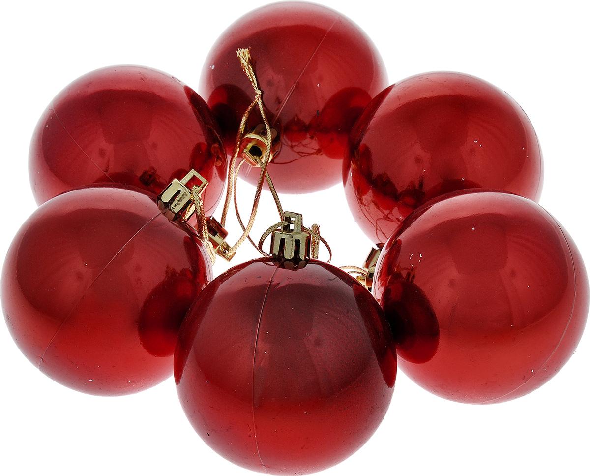 Набор новогодних подвесных украшений Euro House, цвет: красный, диаметр 6 см, 6 шт. ЕХ7487ЕХ 7487Набор новогодних подвесных украшений Euro House прекрасно подойдет для праздничного декора новогодней ели. Набор состоит из 6 пластиковых украшений в виде глянцевых шаров. Для удобного размещения на елке для каждого украшения предусмотрена петелька, выполненная из текстиля. Елочная игрушка - символ Нового года. Она несет в себе волшебство и красоту праздника. Создайте в своем доме атмосферу веселья и радости, украшая новогоднюю елку нарядными игрушками, которые будут из года в год накапливать теплоту воспоминаний. Откройте для себя удивительный мир сказок и грез. Почувствуйте волшебные минуты ожидания праздника, создайте новогоднее настроение вашим дорогим и близким.