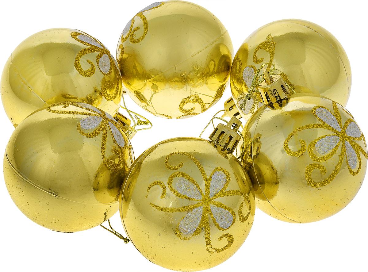 Набор новогодних подвесных украшений EuroHouse Everyday Holiday, цвет: золотистый, диаметр 6 см, 6 штЕХ 9230Набор подвесных украшений EuroHouse Everyday Holiday прекрасно подойдет для праздничного декора новогодней ели. Набор состоит из шести пластиковых украшений в виде шаров, декорированных изображениями цветов из блесток. Для удобного размещения на елке для каждого изделия предусмотрена текстильная ниточка. Елочная игрушка - символ Нового года. Она несет в себе волшебство и красоту праздника. Создайте в своем доме атмосферу веселья и радости, украшая новогоднюю елку нарядными игрушками, которые будут из года в год накапливать теплоту воспоминаний.