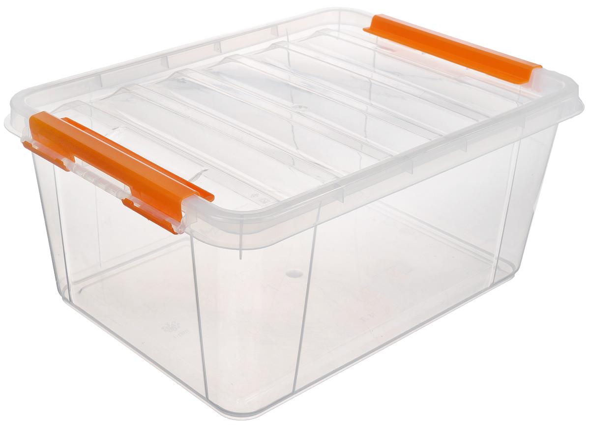 Ящик Полимербыт Профи, цвет: прозрачный, оранжевый, 41 х 29,5 х 18,3 смС508_оранжевыйПрямоугольный ящик Полимербыт Профи, выполненный из высококачественного пластика, оснащен плотно закрывающейся крышкой. Подходит для хранения различных бытовых вещей. Ящик Полимербыт Профи очень вместителен и поможет вам хранить все необходимое в одном месте.