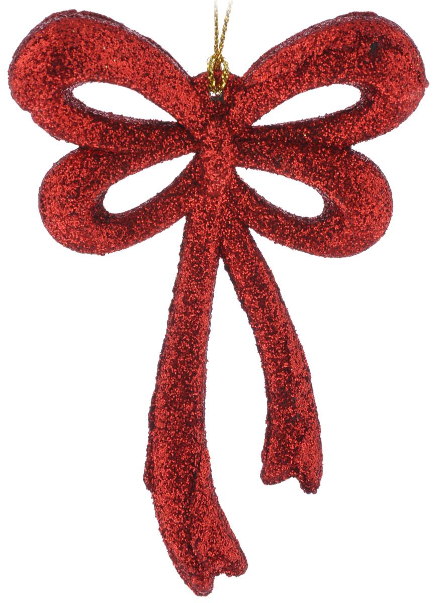 Новогоднее подвесное украшение Феникс-Презент Бантик, цвет: красный, 7,5 х 10,5 см38737Новогоднее подвесное украшение Феникс-Презент Бантик отлично подойдет для декора праздничной ели. Изделие выполнено из пластика и покрыто блестками. Украшение оснащено петелькой для подвешивания. Елочная игрушка - символ Нового года. Она несет в себе волшебство и красоту праздника. Создайте в своем доме атмосферу веселья и радости, украшая новогоднюю елку нарядными игрушками, которые будут из года в год накапливать теплоту воспоминаний.