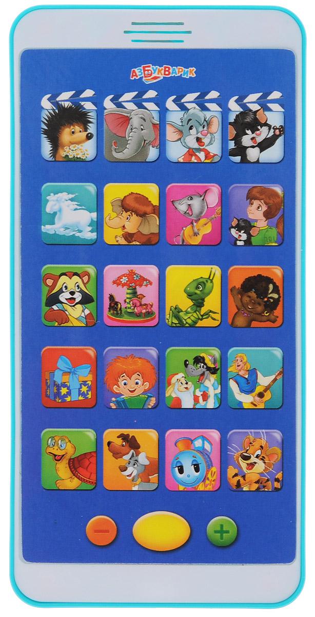 Азбукварик Музыкальная игрушка Мульти плеер Веселые мультяшки цвет бирюзовый белый88333_фиолетовыйМузыкальная игрушка Азбукварик Мульти плеер Веселые мультяшки выполнена из яркого пластика и стилизована под сенсорный телефон. На дисплее плеера расположены 20 кнопок выбора с изображением кадров из мультфильмов и рисунков на каждой. Нажав на одну из четырех верхних кнопок, ребенок сможет прослушать мультфильм. Музыкальные кнопки воспроизведут песенки из советских мультфильмов в исполнении героя, изображенного на кнопке, или тематические песенки, соответствующие картинке. При повторном нажатии на кнопочку мультфильм или песенка перестанут звучать. В нижней части плеера находятся кнопки включения/выключения и регулировки громкости. Музыкальная игрушка Азбукварик Мульти плеер Веселые мультяшки поможет вашему малышу развить слух, музыкальное восприятие, а также поднимет ребенку настроение и успокоит перед сном. Для работы игрушки необходимы 3 батарейки напряжением 1,5V типа ААА (входят в комплект).